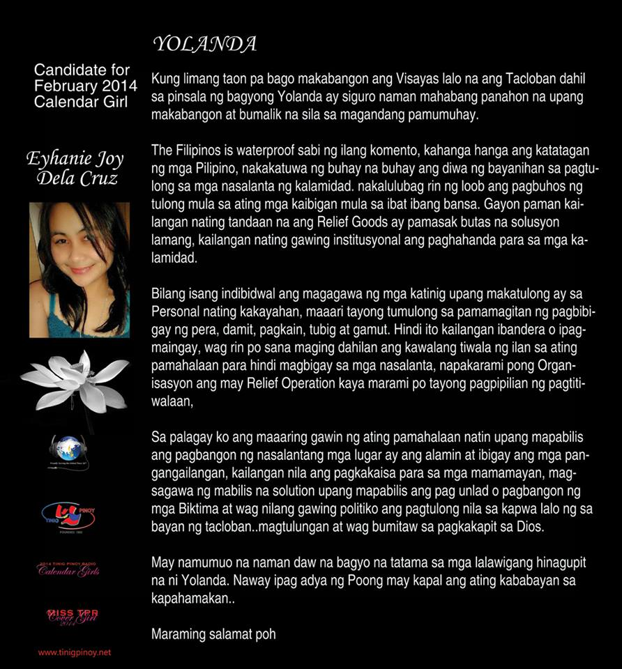 Essay of Eyhanie Joy dela Cruz – Tinig Pinoy Radio